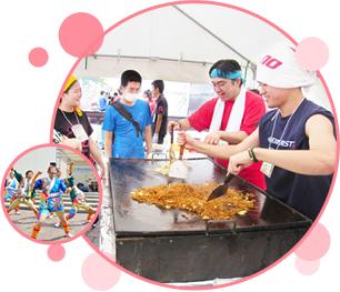 写真:お祭りボランティアで焼きそばを焼いている若者とダンスパフォーマンスをする若者。